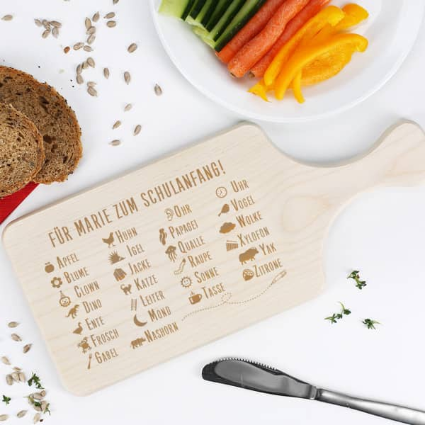 Frühstücksbrett mit ABC und Wunschtext