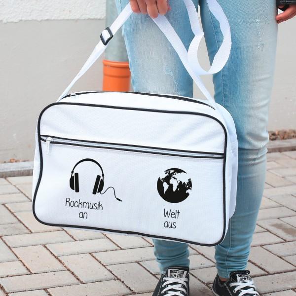 Persönliche Retro Tasche in weiß mit Wunschtext