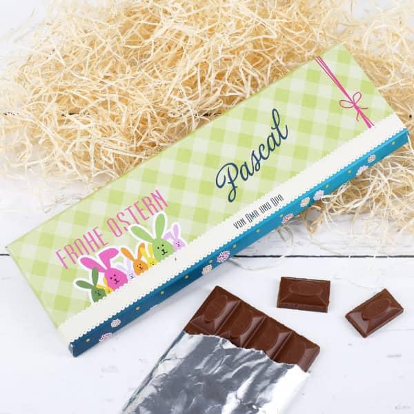 Osterschokolade mit Wunschnamen und Text