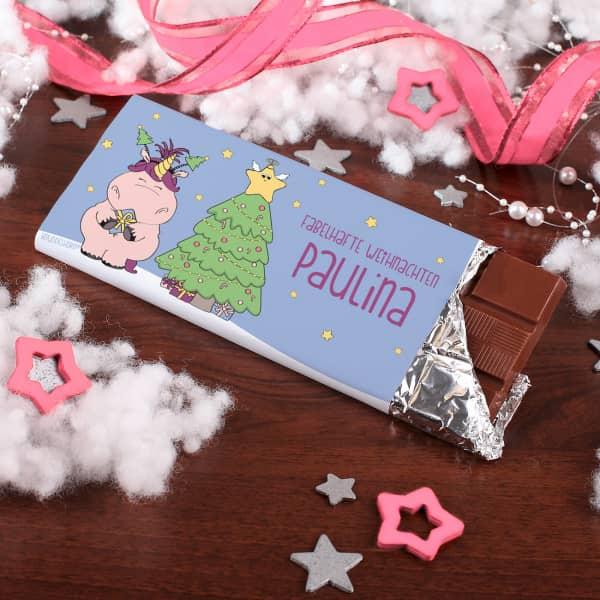 100g Einhornschokolade mit weihnachtlichem Knuddelhorn-Motiv