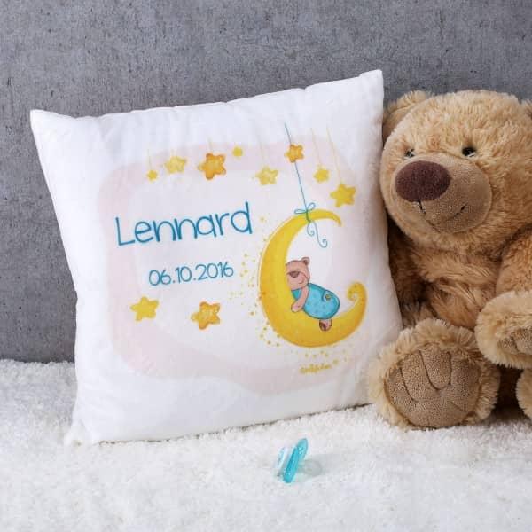 Bedrucktes FLauschkissen mit süßem Teddy und Ihren Wunschdaten