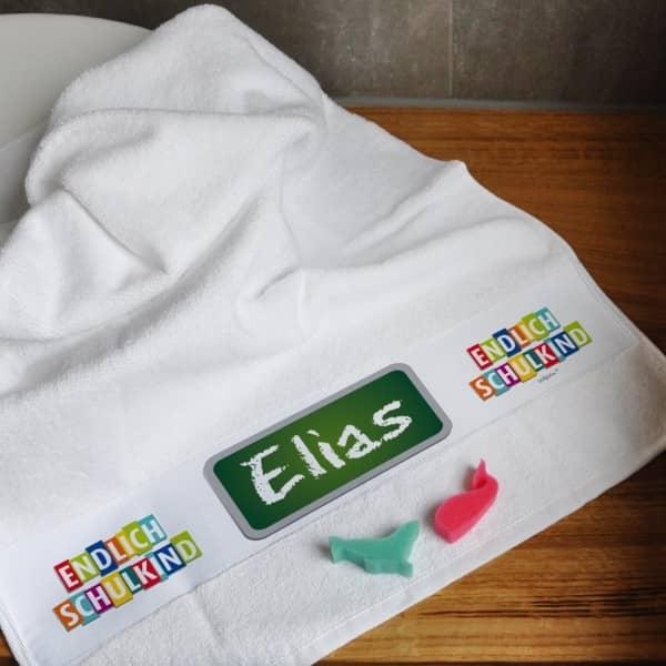 Handtuch Endlich Schulkind Name Tafel