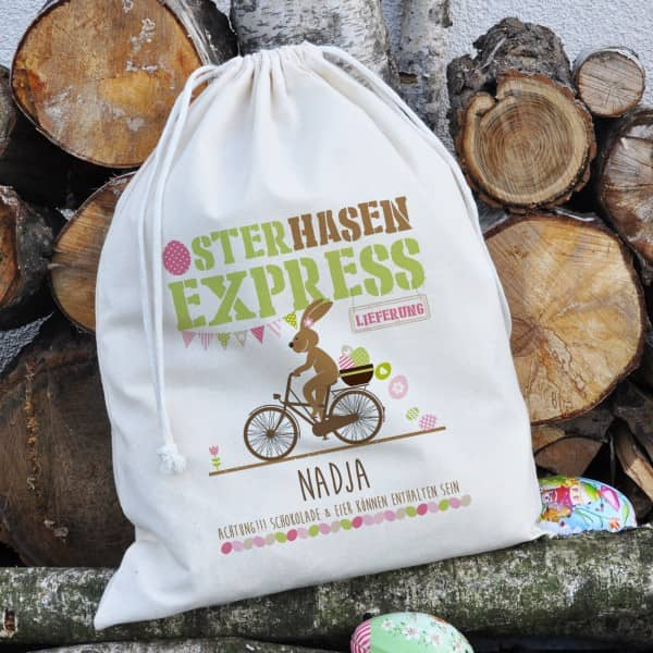 Osterhasen-Express - Geschenksack mit Ihrem Name, 40 x 50 cm
