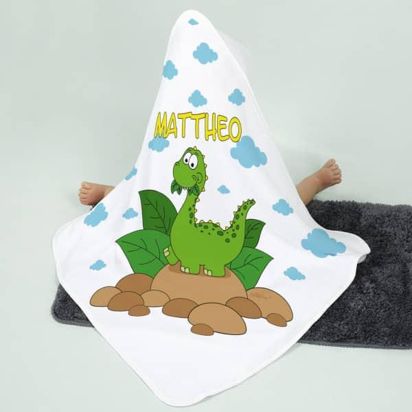 Dinosaurier-Kapuzenhandtuch für Kinder mit deinem Namen